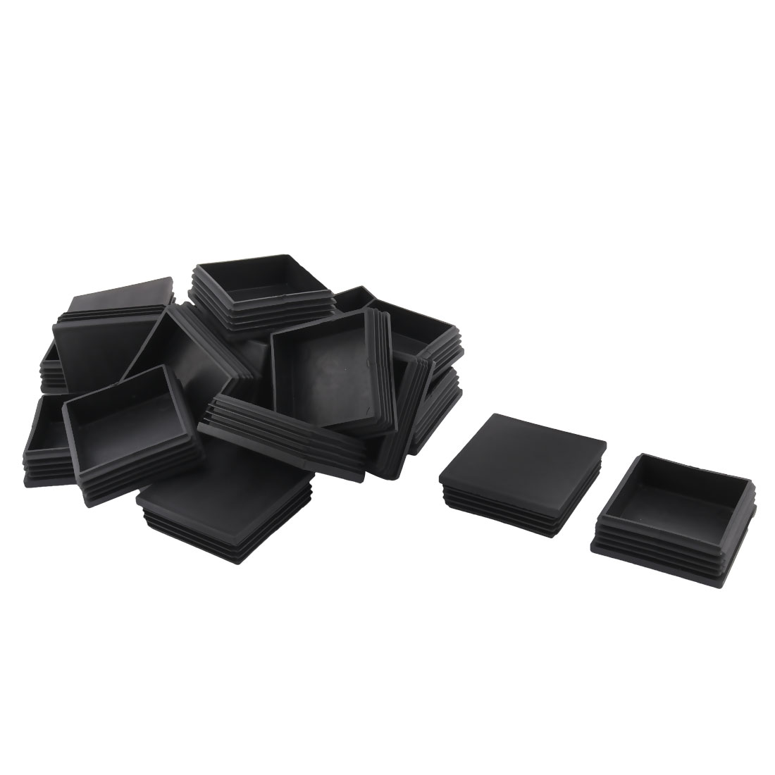 Plastic Square Design Tube Insert End Blanking Cover Cap Black 70 x 70mm 20pcs