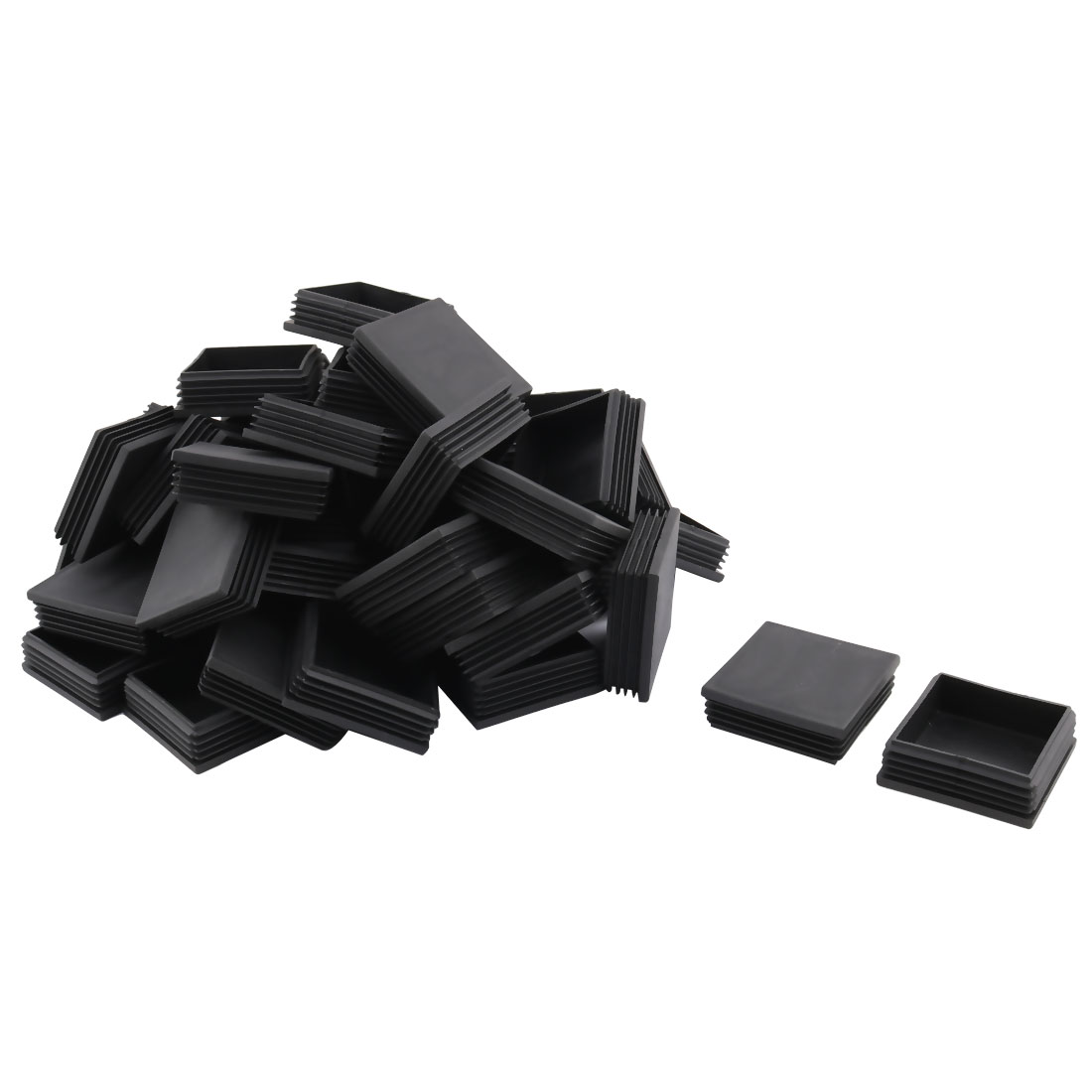 Plastic Square Design Tube Insert End Blanking Cover Cap Black 70 x 70mm 50pcs