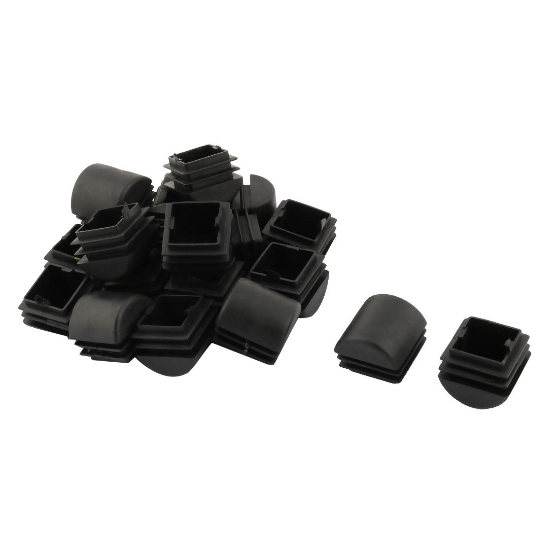 Plastic Square Design Tube Insert End Blanking Cover Cap Black 25 x 25mm 20pcs