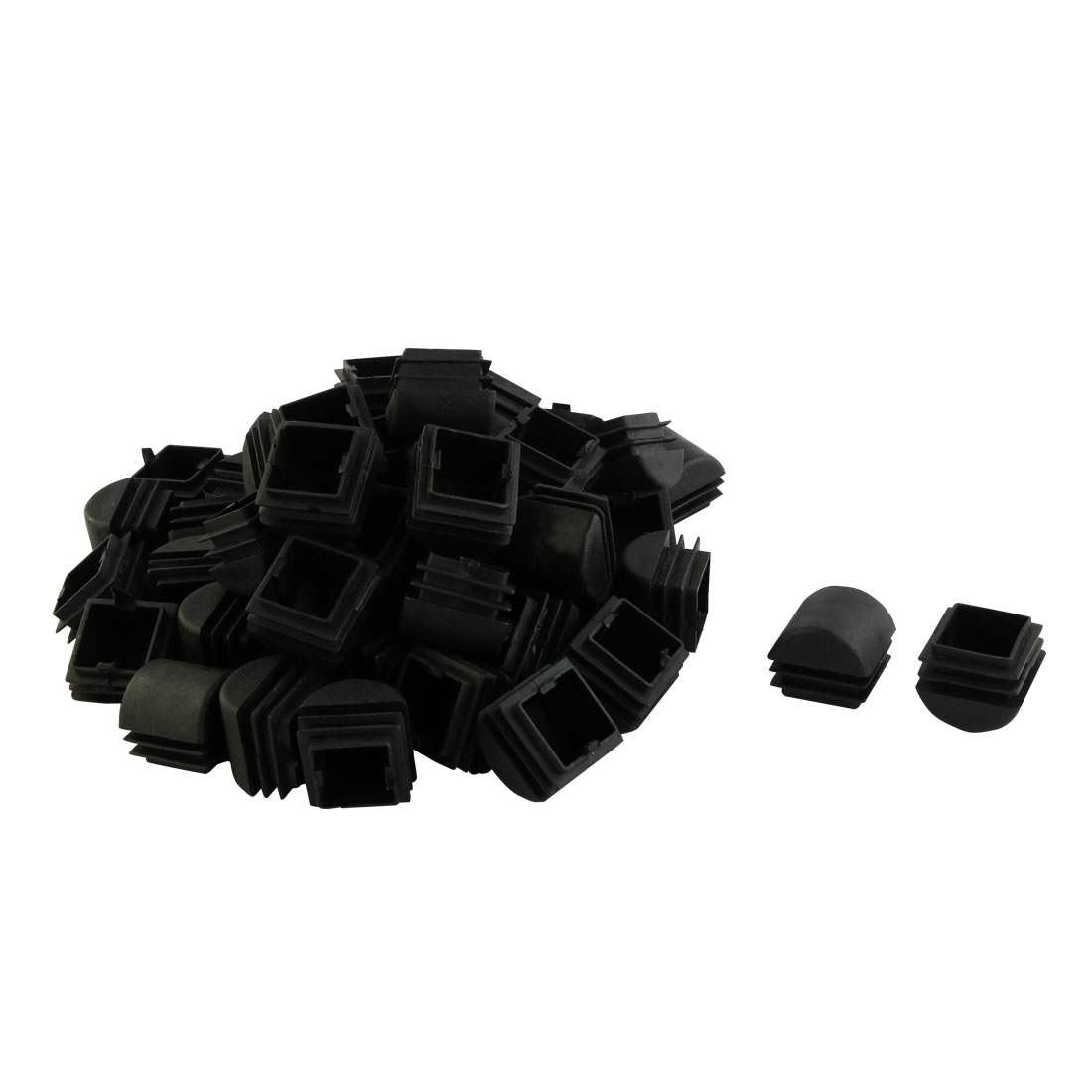 Plastic Square Design Tube Insert End Blanking Cover Cap Black 25 x 25mm 50pcs