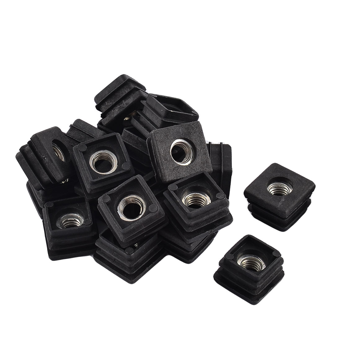 Office Plastic Square Shaped Furniture Table Feet Pipe Tube Nut Insert Black 20 Pcs