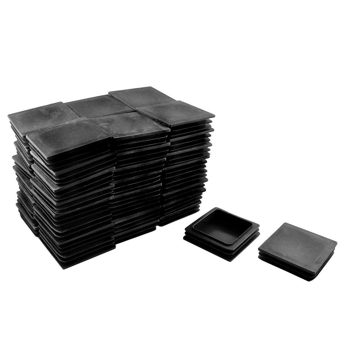 Home School Office Plastic Square Shaped Table Leg Feet Tube Insert Black 50 Pcs