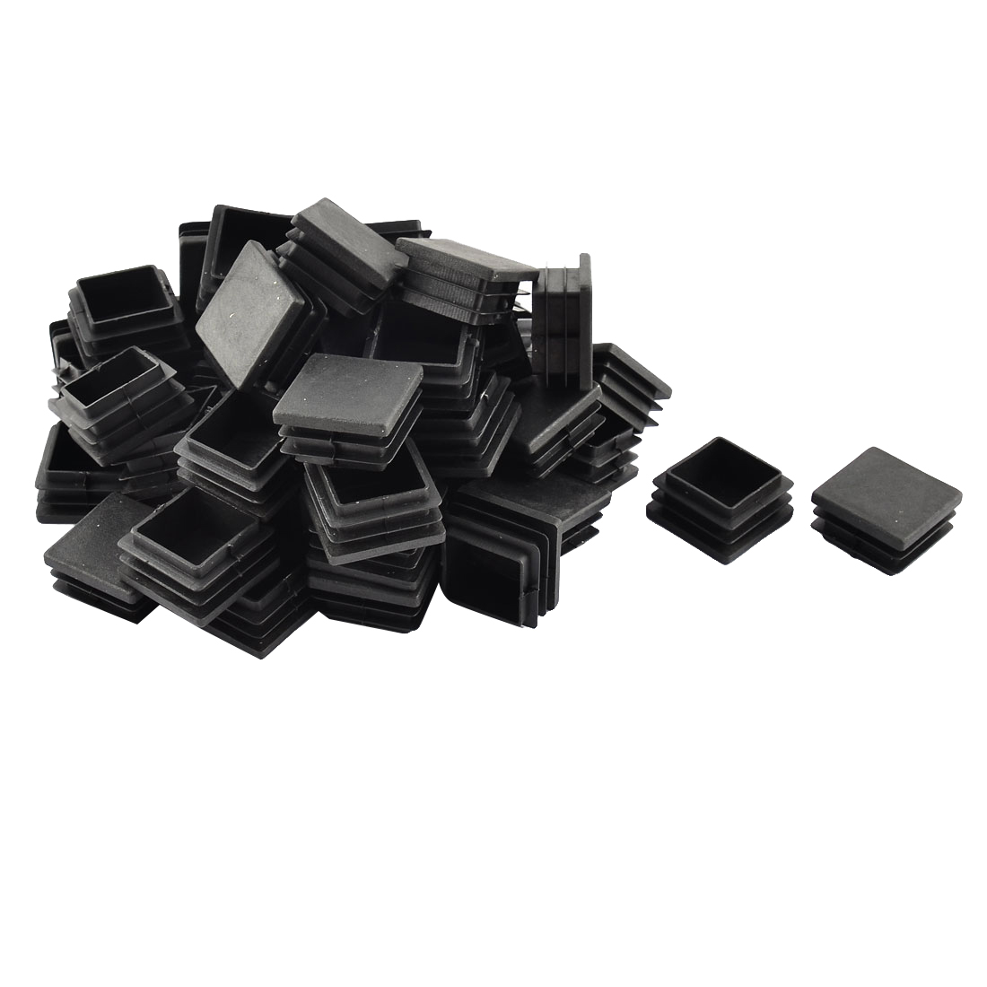 Floor Protect Square Furniture Chair Leg Pipe Tube Insert Black 34 x 34mm 50pcs
