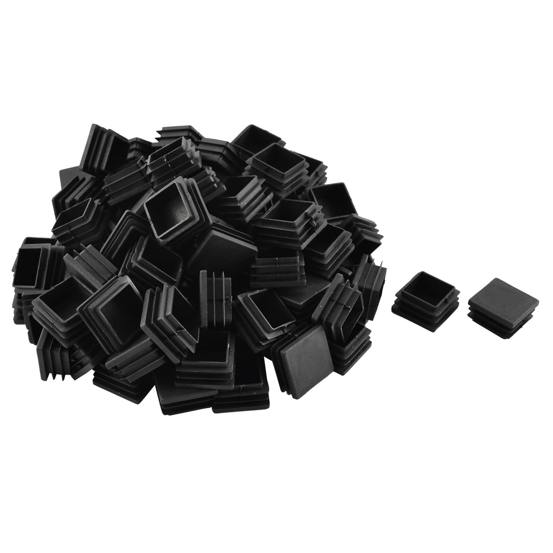 Home Office Plastic Square Shaped Furniture Table Chair Leg Feet Tube Insert Black 100 Pcs