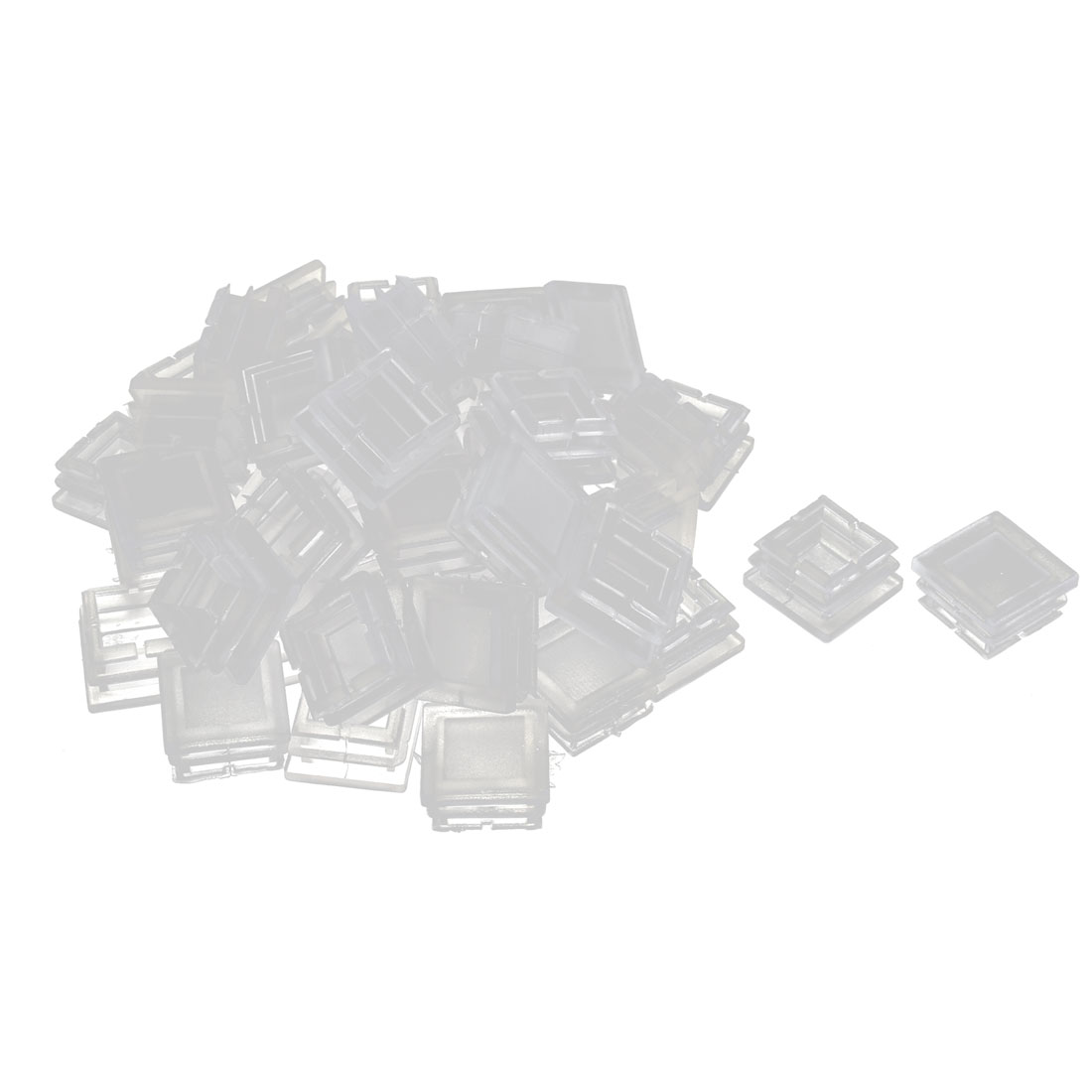 Plastic Square Tube Pipe Inserts End Blanking Caps Clear 25mmx25mm 50 Pcs
