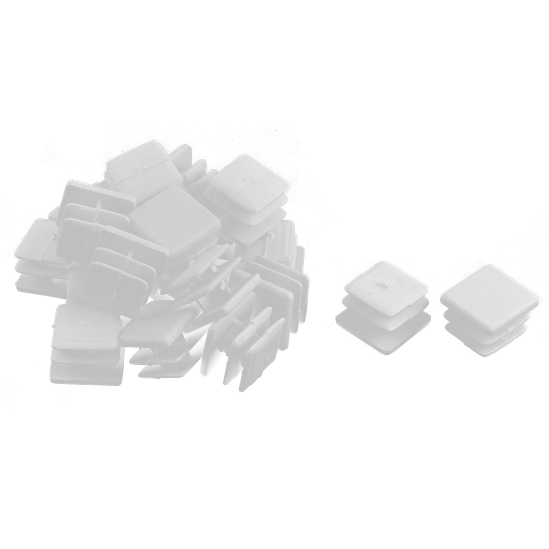 Plastic Square Tube Pipe Inserts End Blanking Caps White 15mmx15mm 20 Pcs