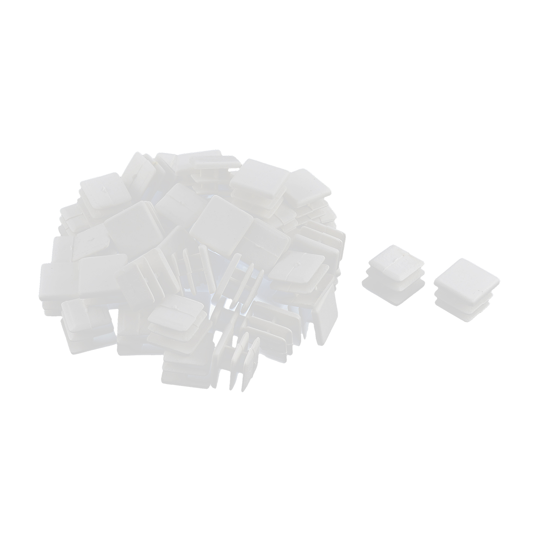Plastic Square Tube Pipe Inserts End Blanking Caps White 15mmx15mm 50 Pcs