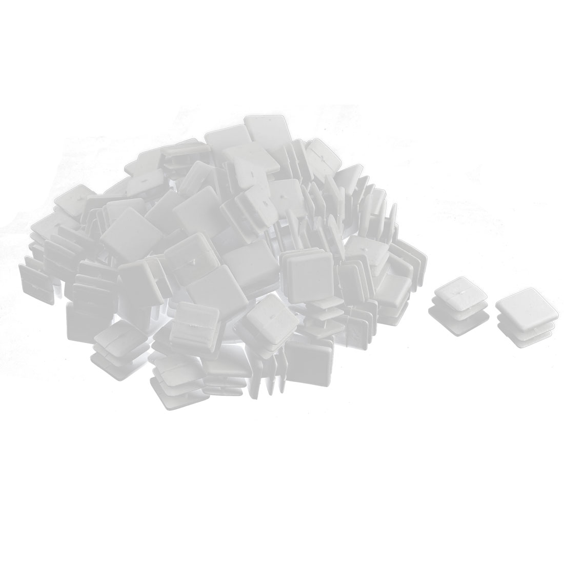 Plastic Square Tube Pipe Inserts End Blanking Caps White 15mmx15mm 100 Pcs