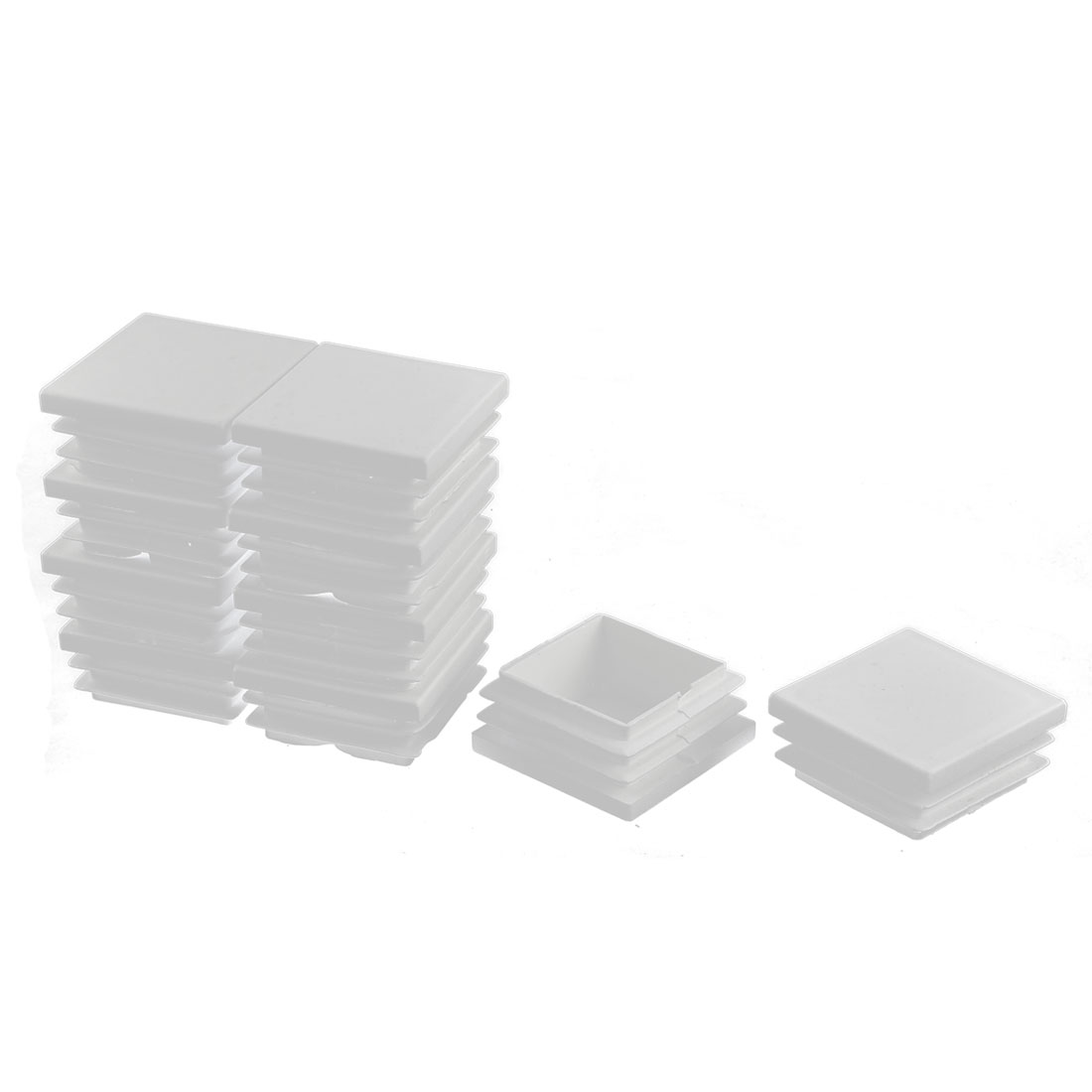 Plastic Square Tube Pipe Inserts End Blanking Caps White 40mmx40mm 10 Pcs