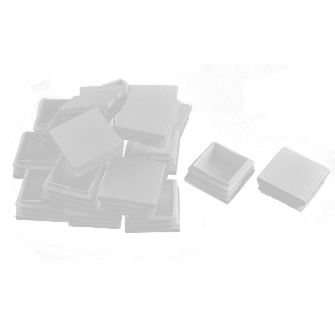 Plastic Square Tube Pipe Inserts End Blanking Caps White 40mmx40mm 20 Pcs