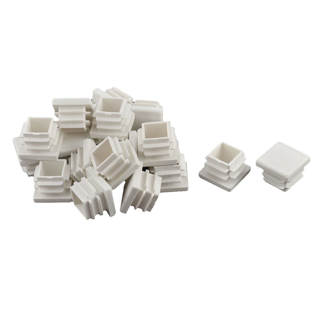 Plastic Square Tube Pipe Inserts End Blanking Caps Plugs White 17mm x 17mm 20 Pcs