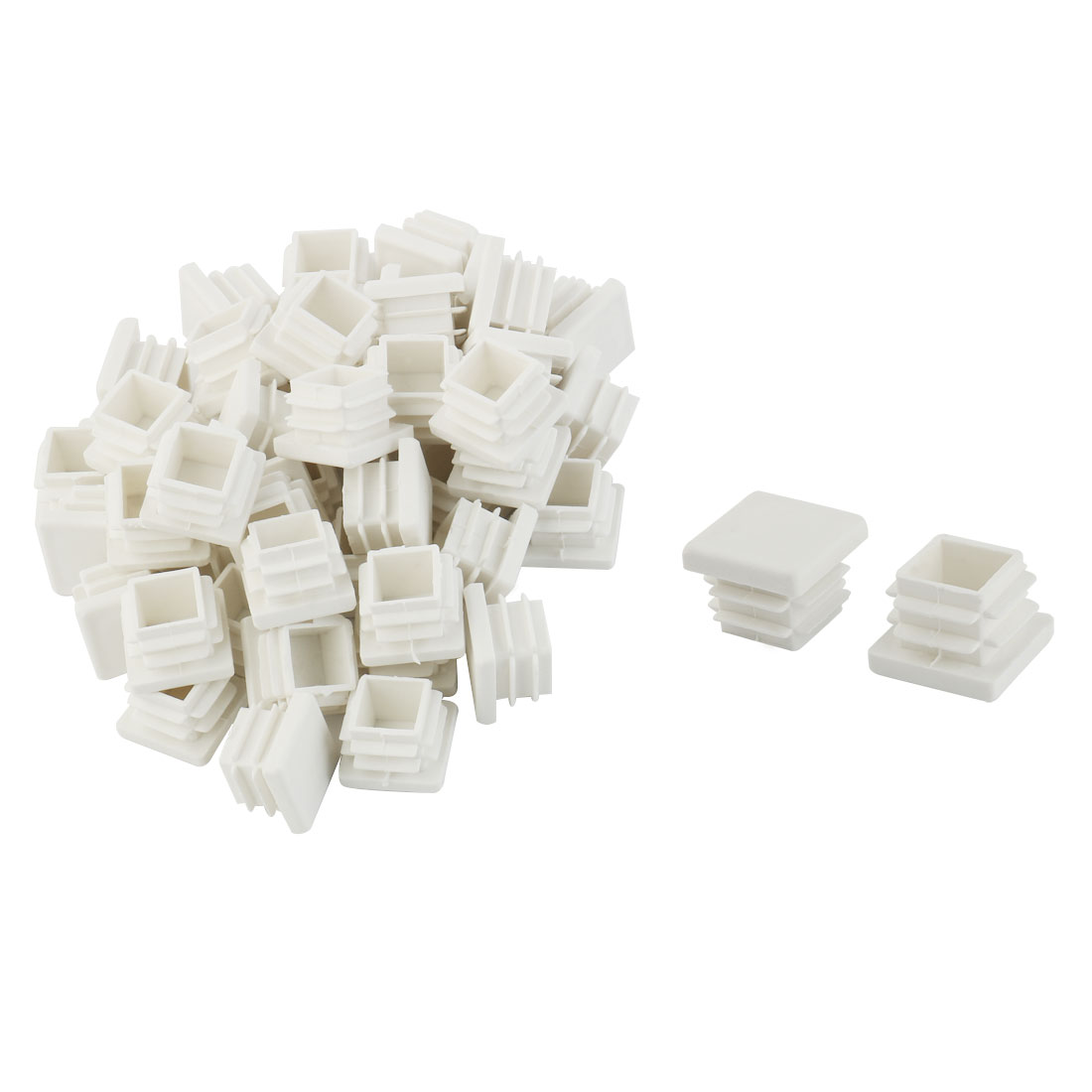 Plastic Square Tube Pipe Inserts End Blanking Caps White 19mmx19mm 50 Pcs