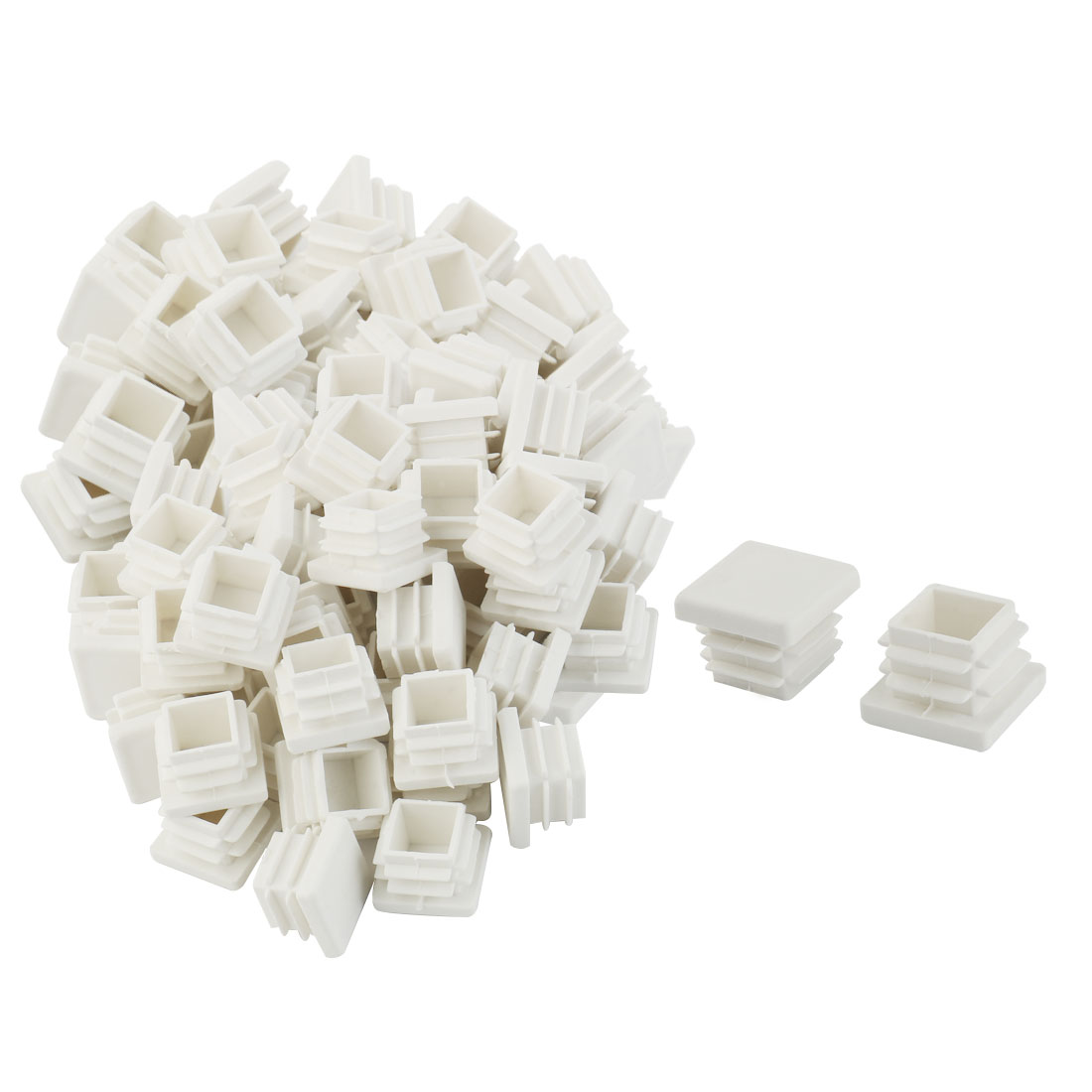 Plastic Floor Protector Chair Leg Tube Insert Blanking Cover Cap White 17 x 17mm 100pcs