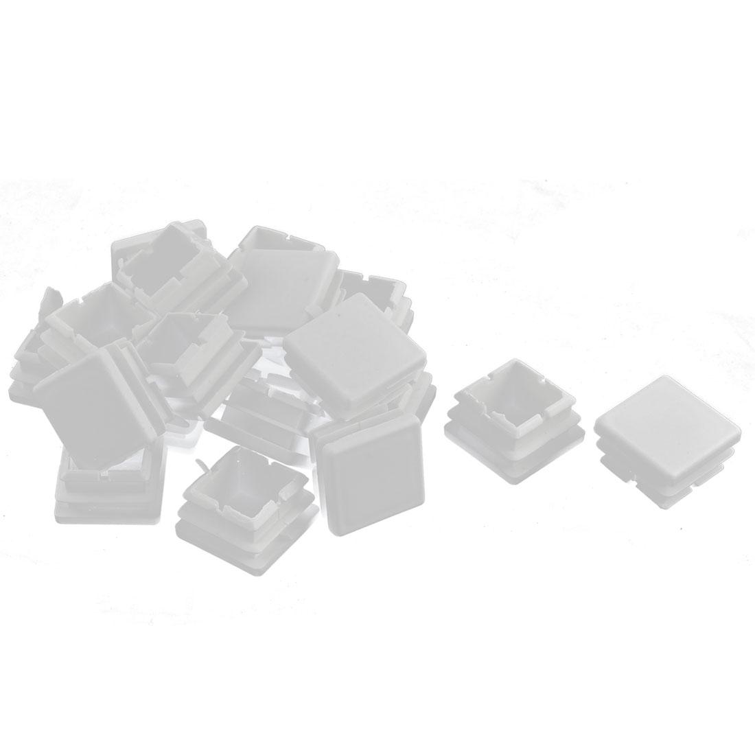 Plastic Square Tube Pipe Inserts End Blanking Caps White 25mmx25mm 20 Pcs
