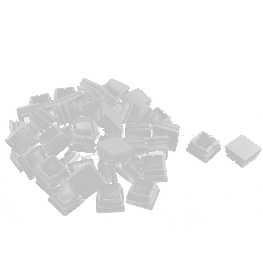 Plastic Square Tube Pipe Inserts End Blanking Caps White 25mmx25mm 50 Pcs