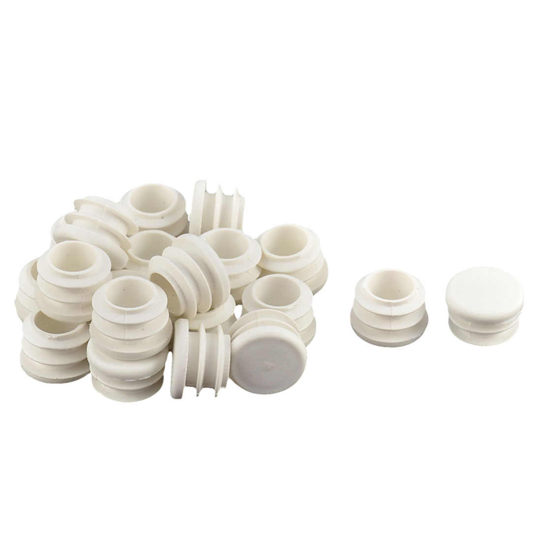 Office Plastic Round Shaped Furniture Table Chair Leg Foot Tube Insert White 20 Pcs