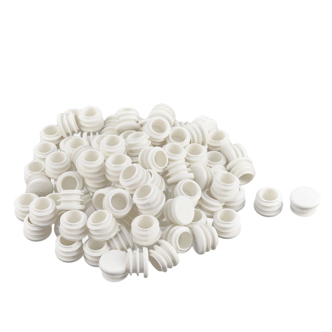 Household Office Plastic Round Shaped Table Chair Legs Tube Insert White 104 Pcs