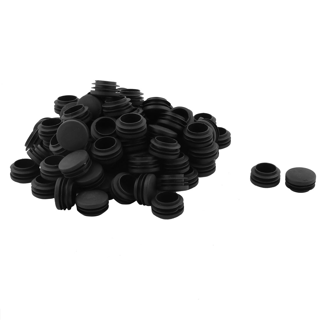 Office Plastic Round Shaped Furniture Table Chair Leg Foot Tube Insert Black 100 Pcs 3.5cm Diameter