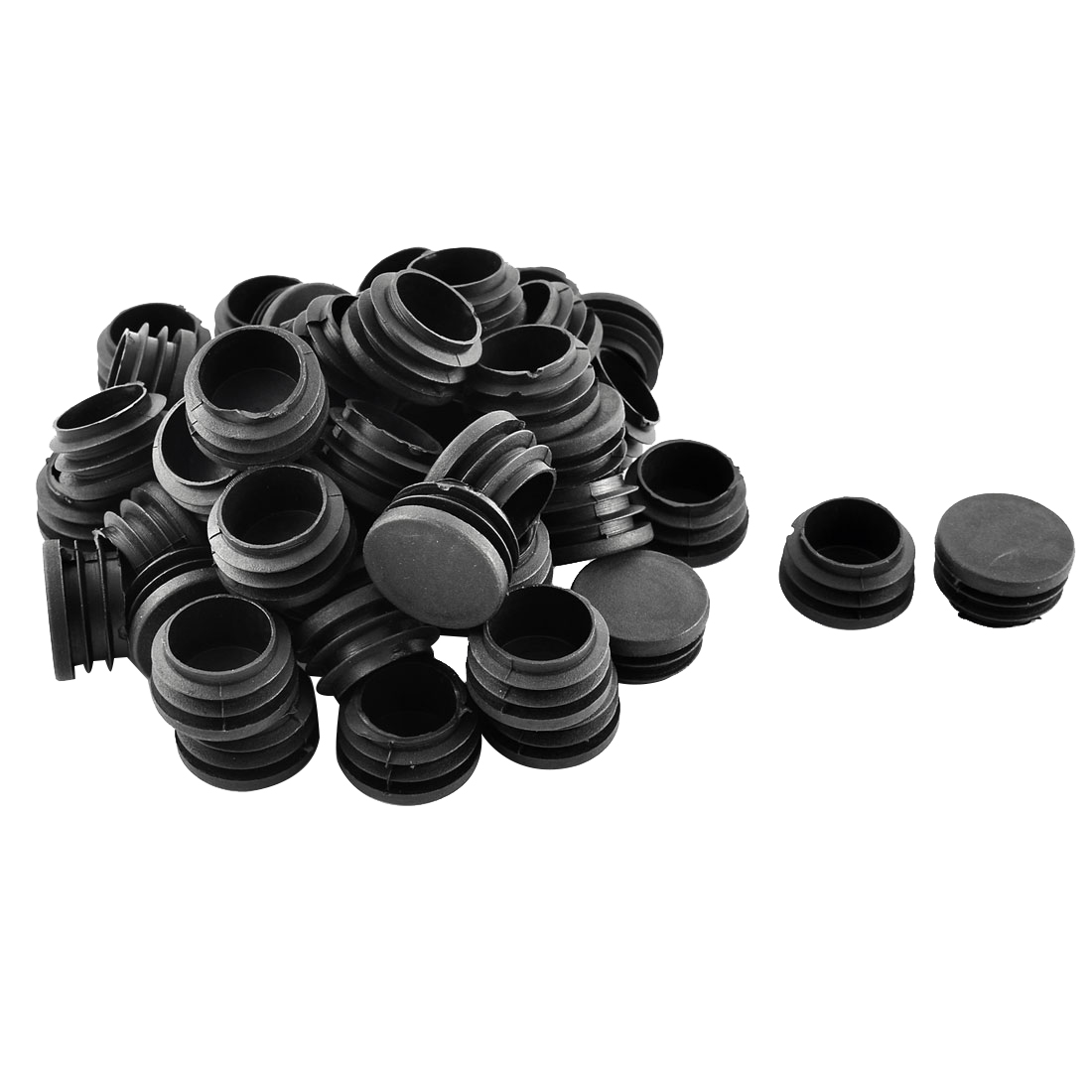 Plastic Round Ribbed Tube Inserts End Blanking Caps Black 32mm Diameter 50 Pcs