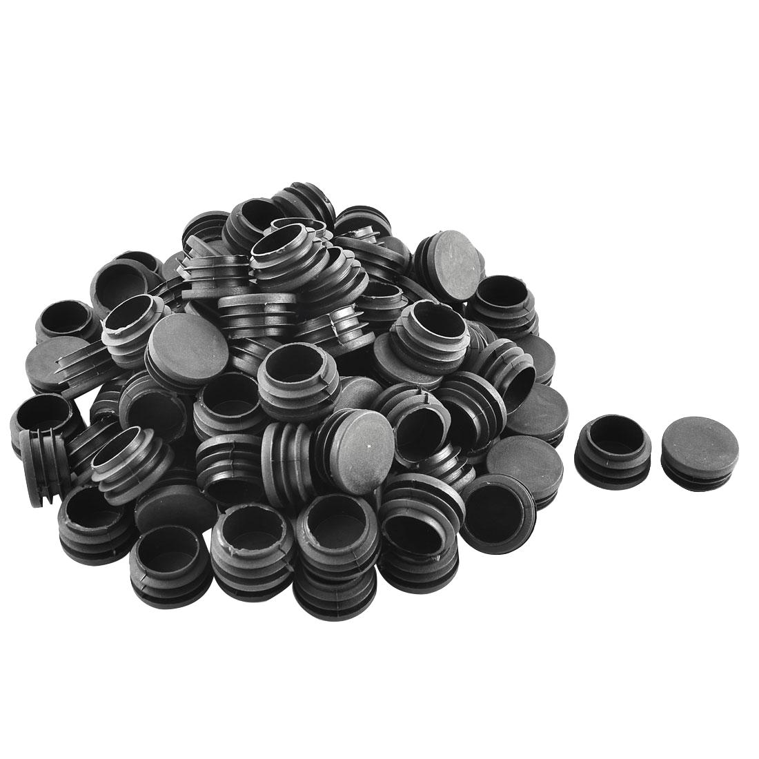 Plastic Round Ribbed Tube Inserts End Blanking Caps Black 32mm Diameter 100 Pcs