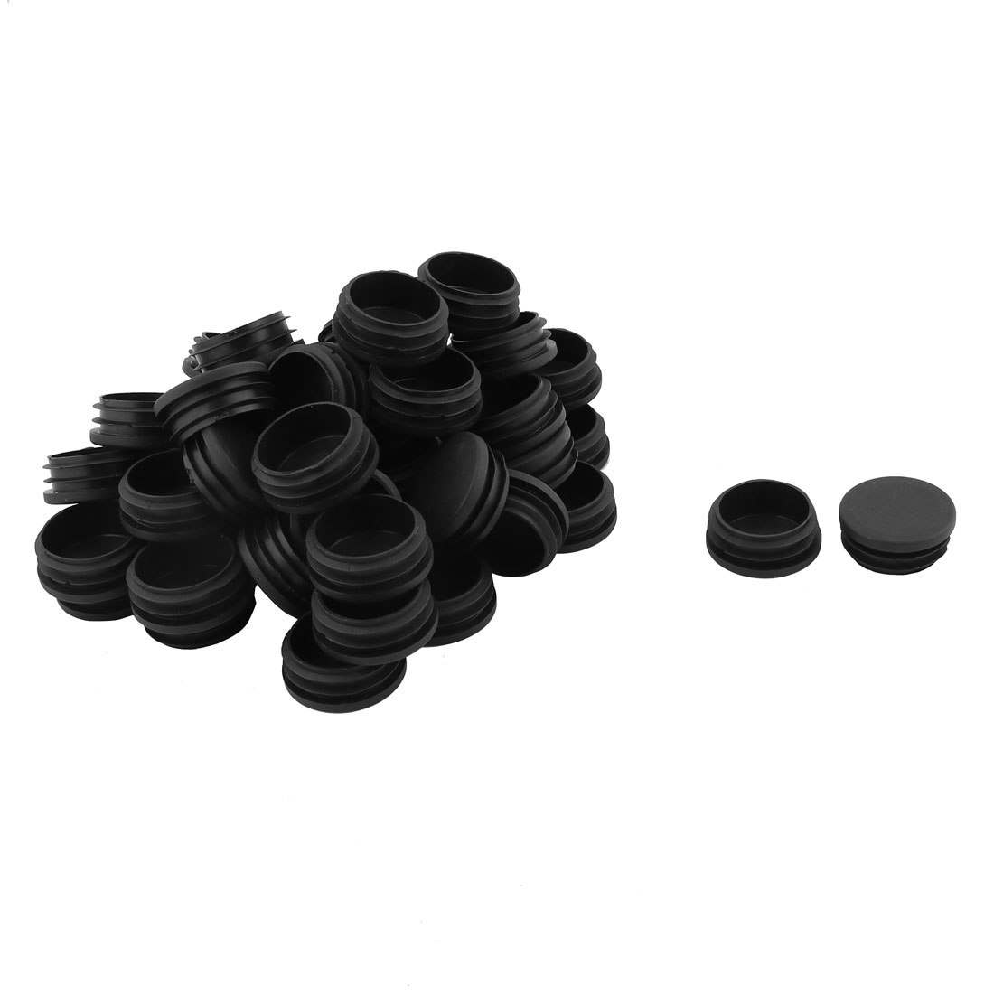 Plastic Round Shaped Table Chair Leg Foot Tube Insert Black 4cm Diameter 50 Pcs