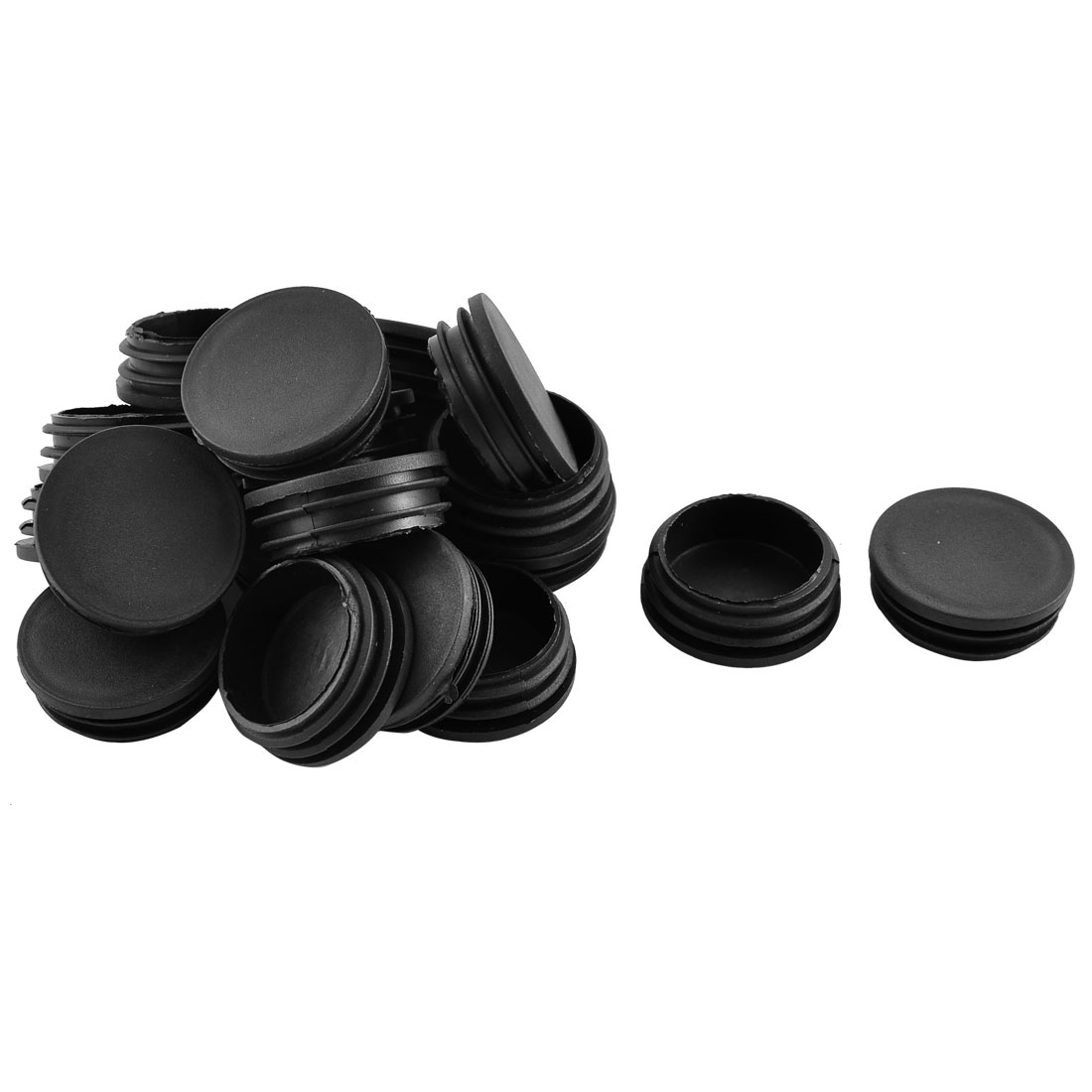 Household Office Plastic Round Shaped Furniture Table Chair Leg Feet Tube Insert Black 20 Pcs