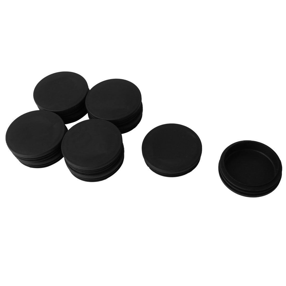 Plastic Round Ribbed Tube Inserts End Blanking Caps Black 74mm Diameter 10 Pcs