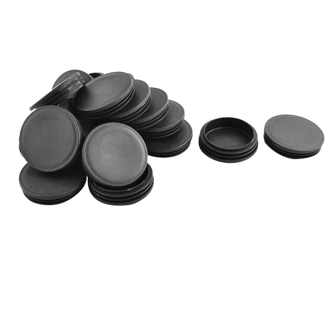 74mm Diameter Plastic Cap Round Ribbed Tube Inserts 20 Pcs for Chair Table Legs