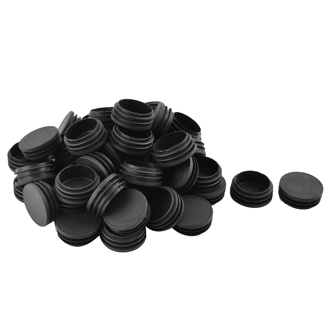 Home Plastic Cylindrical Shaped Furniture Chair Leg Feet Tube Insert Black 50 Pcs