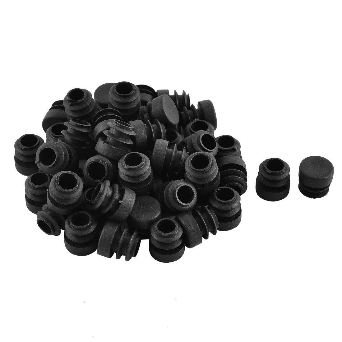 Home Plastic Round Shaped Table Chair Legs Tube Insert Black 16mm Diameter 50 Pcs