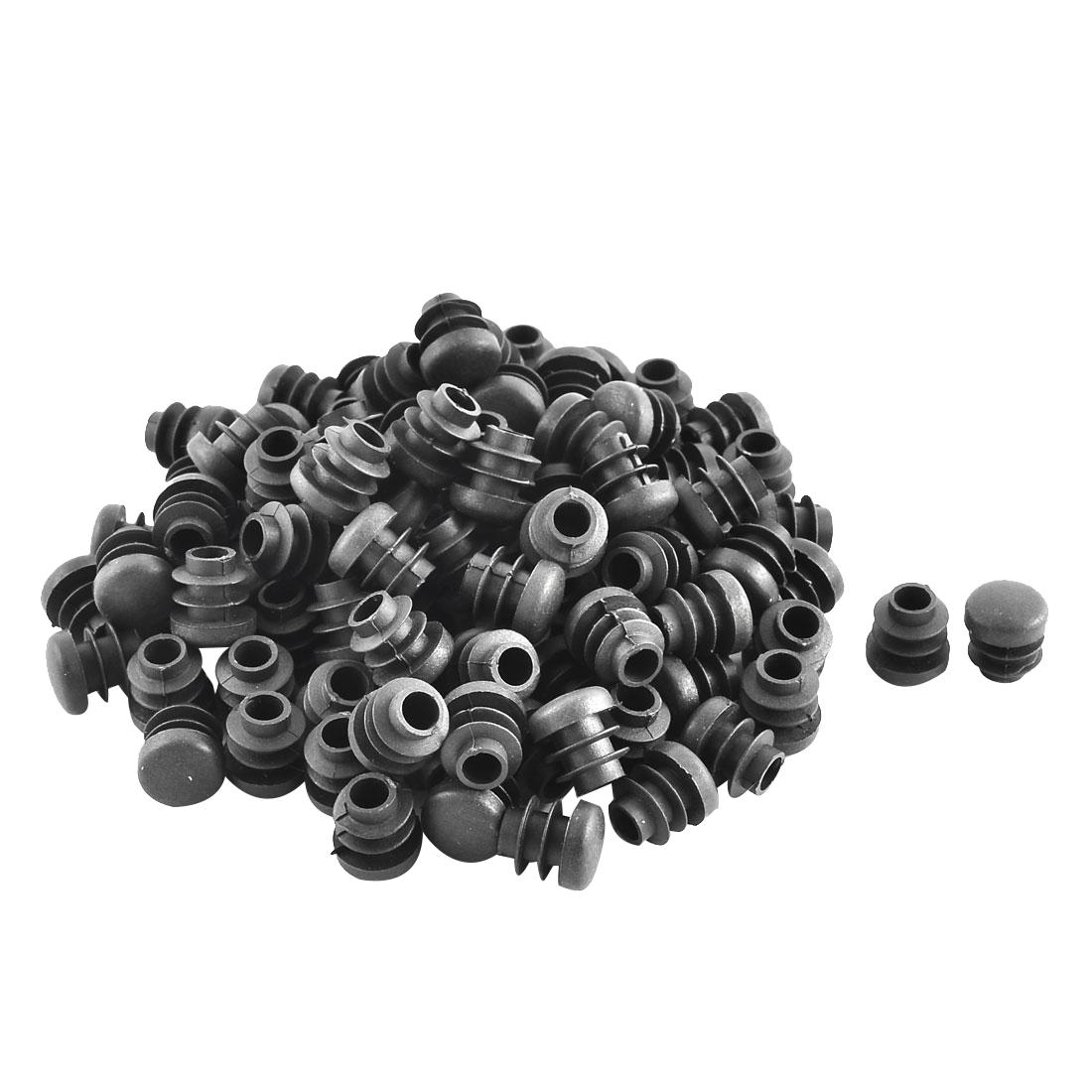Plastic Round Ribbed Tube Inserts End Blanking Caps Black 14mm Diameter 100 Pcs