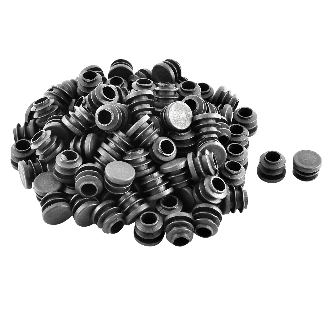 Plastic Round Ribbed Tube Inserts End Blanking Caps Black 16mm Diameter 100 Pcs