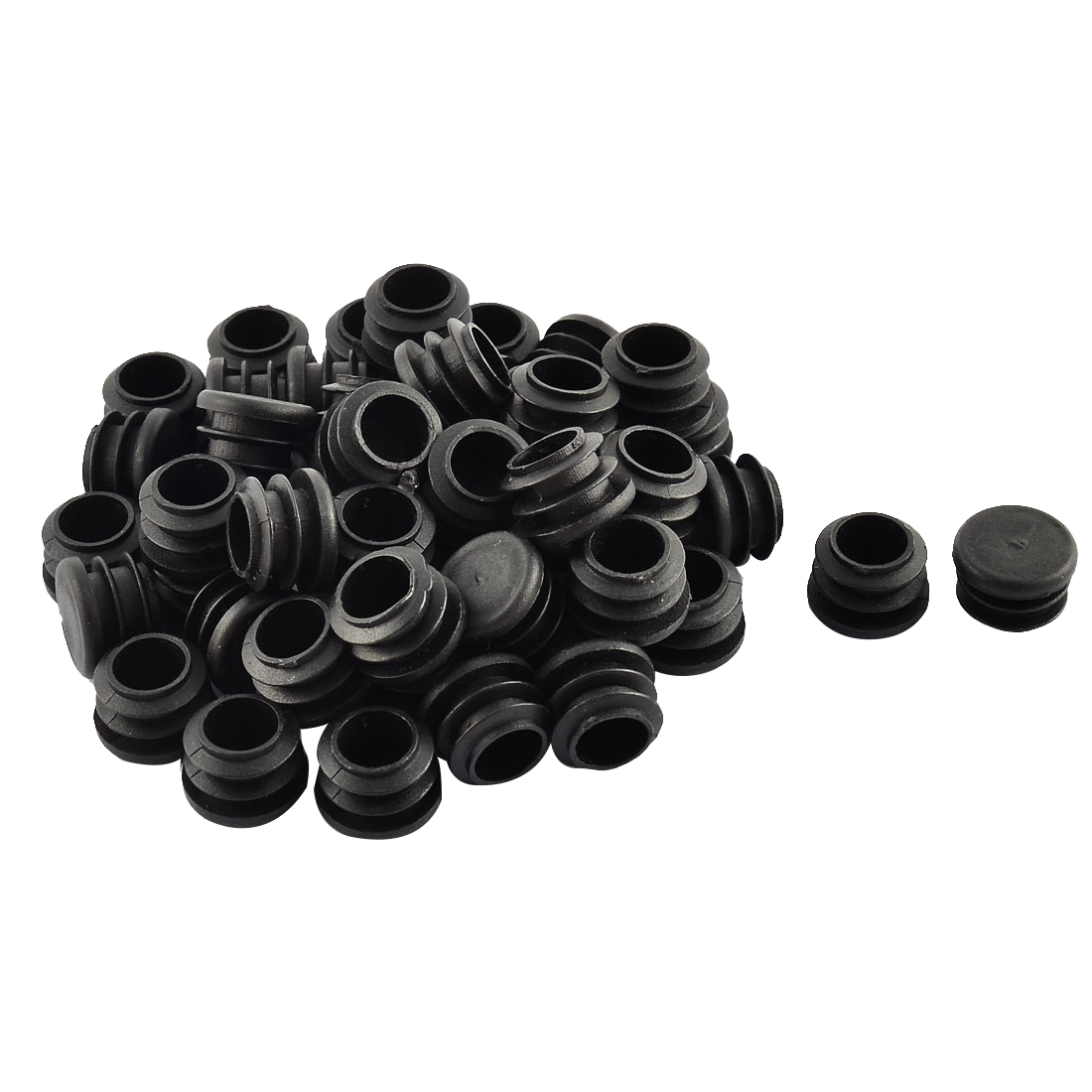Floor Protect Plastic Round Chair Leg Pipe Tube Insert Blanking Caps 17mm Dia 50pcs