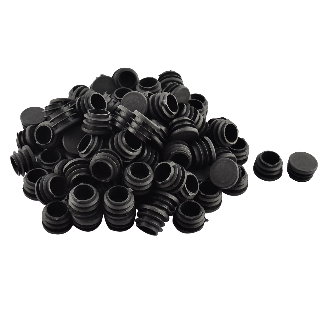 Floor Protect Plastic Round Chair Leg Pipe Tube Insert Blanking Caps 23mm Dia 100pcs