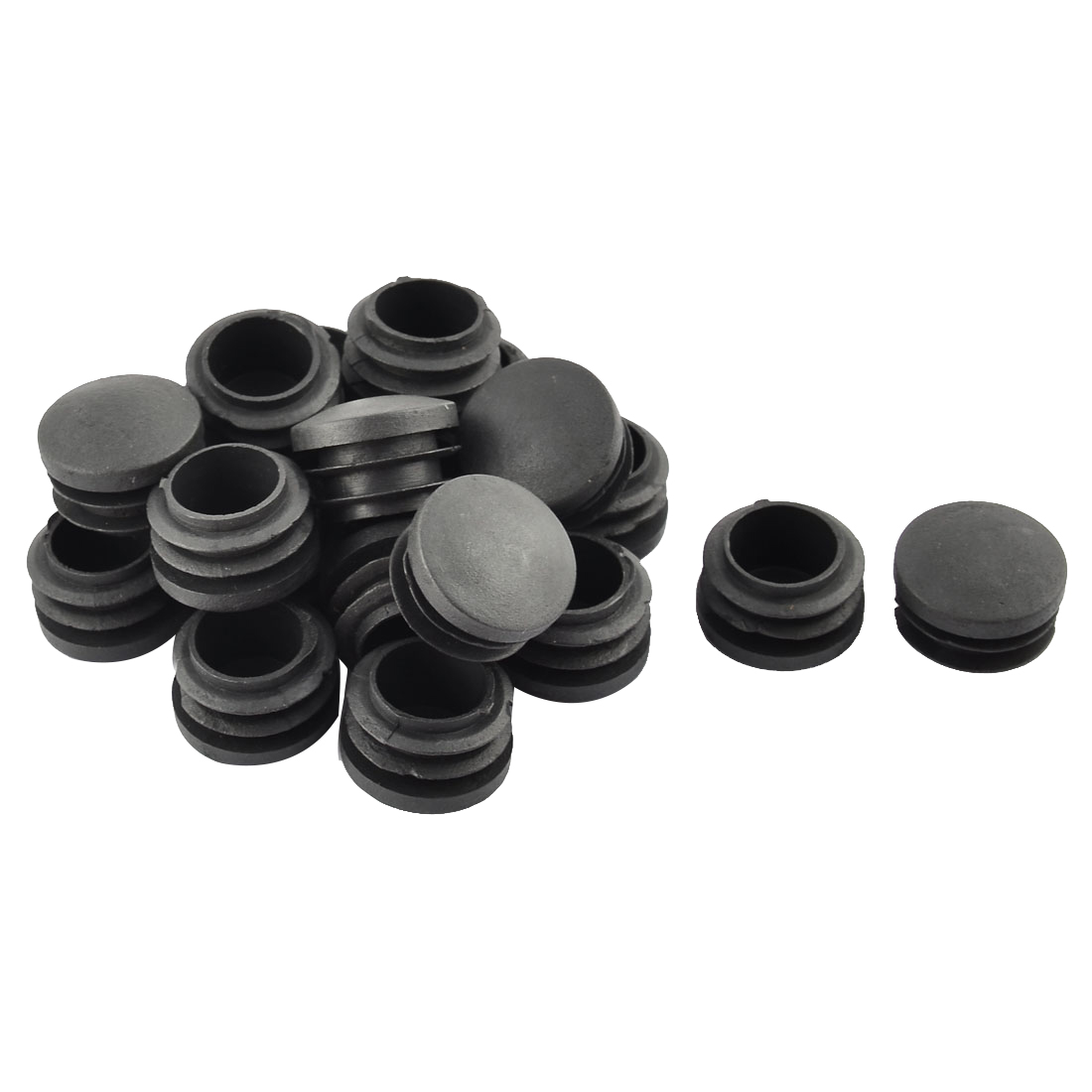 Household Plastic Cylindrical Shaped Furniture Chair Leg Feet Tube Insert Black 20 Pcs