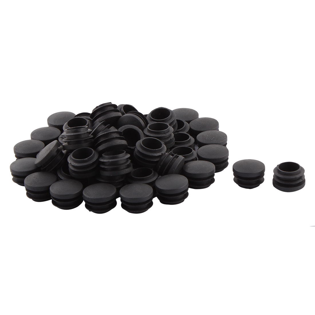 Home Office Plastic Round Shaped Table Chair Leg Tube Pipe Insert Black 28mm Dia 50 PCS