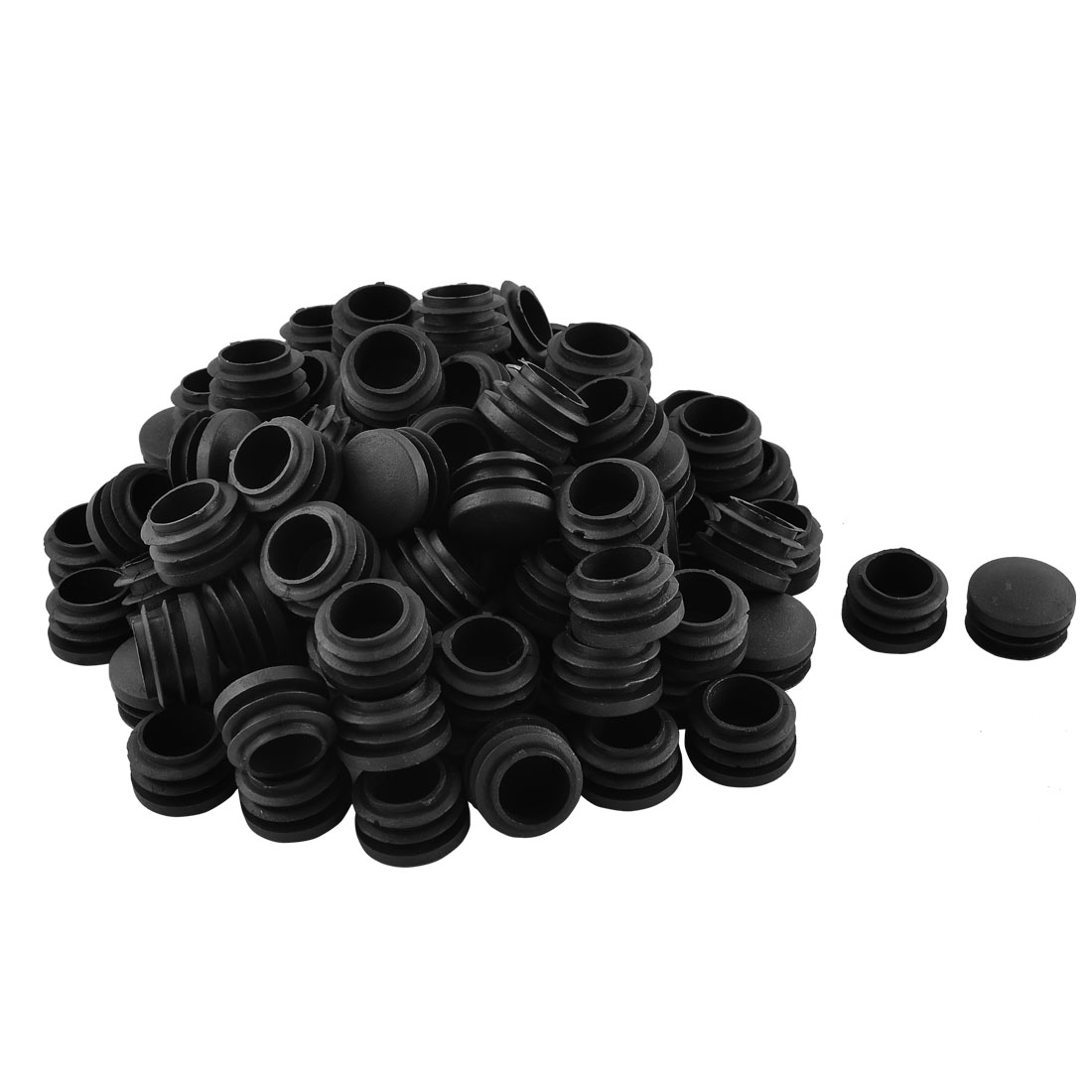 Home Office Plastic Round Shaped Furniture Table Chair Leg Feet Tube Insert Black 100 Pcs