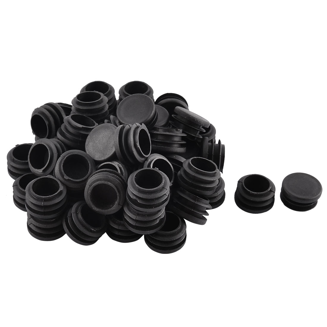 Household School Plastic Round Shaped Furniture Table Chair Leg Feet Tube Insert Black 50 Pcs