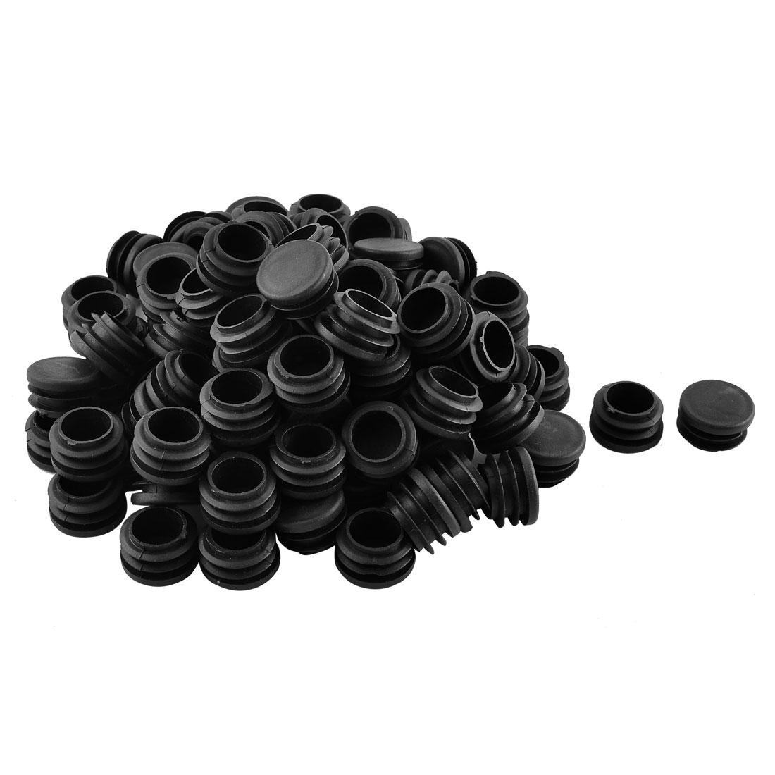Home Plastic Cylindrical Shaped Furniture Table Chair Leg Foot Tube Insert Black 100 Pcs