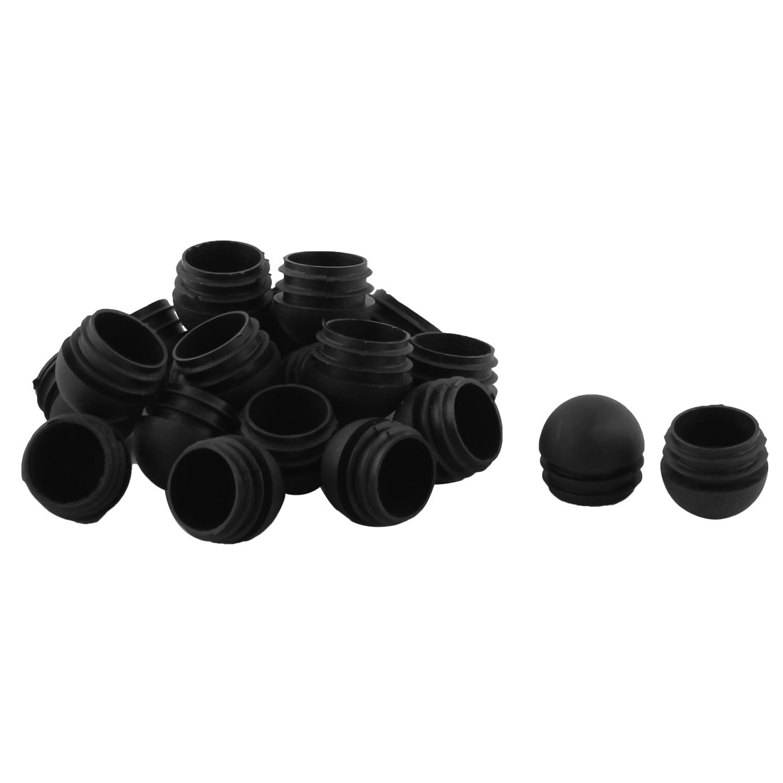 Office Home Plastic Round Shaped Furniture Table Chair Leg Foot Tube Insert Black 20 Pcs