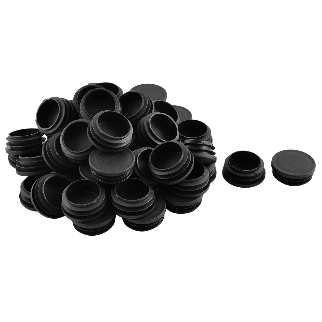 School Plastic Cylindrical Shaped Furniture Table Chair Leg Feet Tube Insert Black 50 Pcs