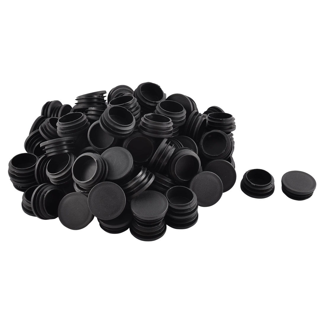 Household Plastic Round Shaped Furniture Table Chair Leg Feet Tube Insert Black 100 Pcs