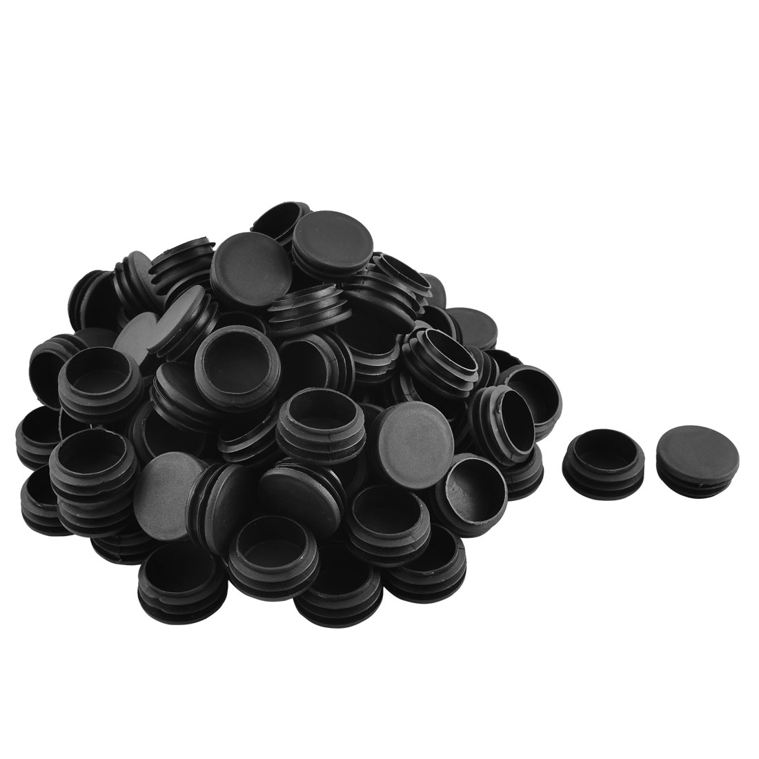 Home Plastic Cylindrical Shaped Furniture Table Chair Leg Feet Tube Insert Black 100 Pcs