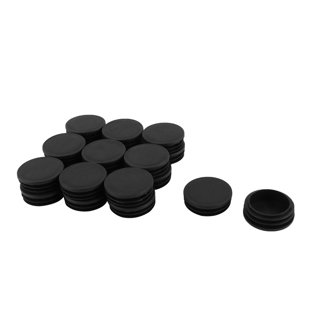 Home Office School Plastic Round Shaped Furniture Table Chair Leg Feet Tube Insert Black 20 Pcs