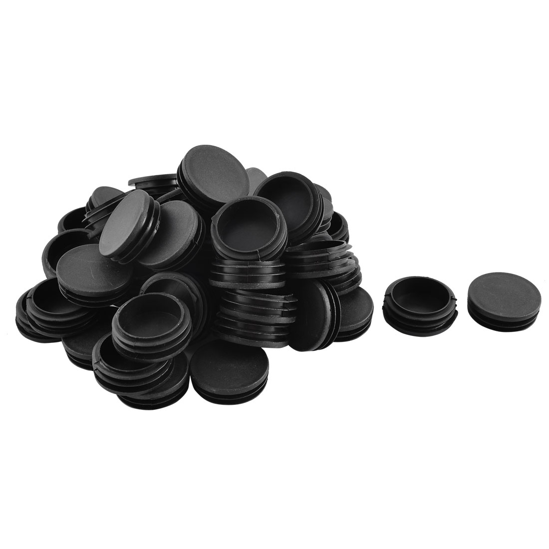 Home Office Plastic Round Shaped Furniture Table Chair Leg Feet Tube Insert Black 50 Pcs