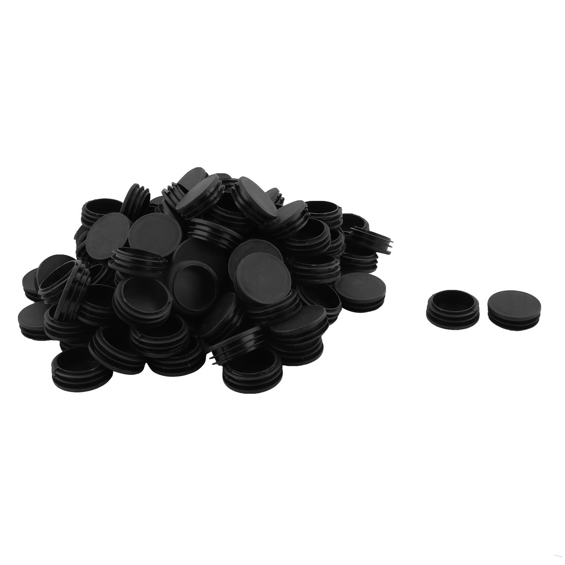 Home Office Plastic Round Shaped Furniture Table Chair Leg Feet Tube Insert Black 100pcs