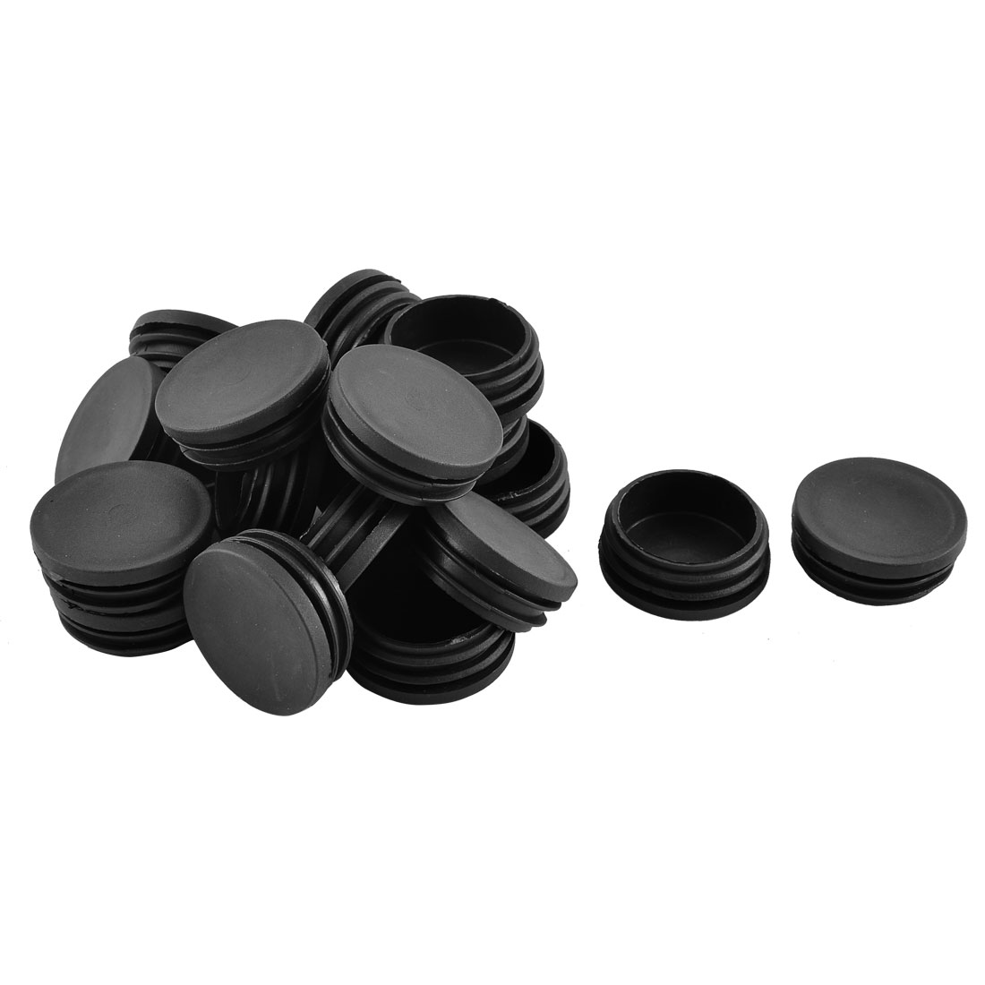 Home Office Plastic Round Shaped Furniture Table Chair Leg Feet Tube Insert Black 20 Pcs