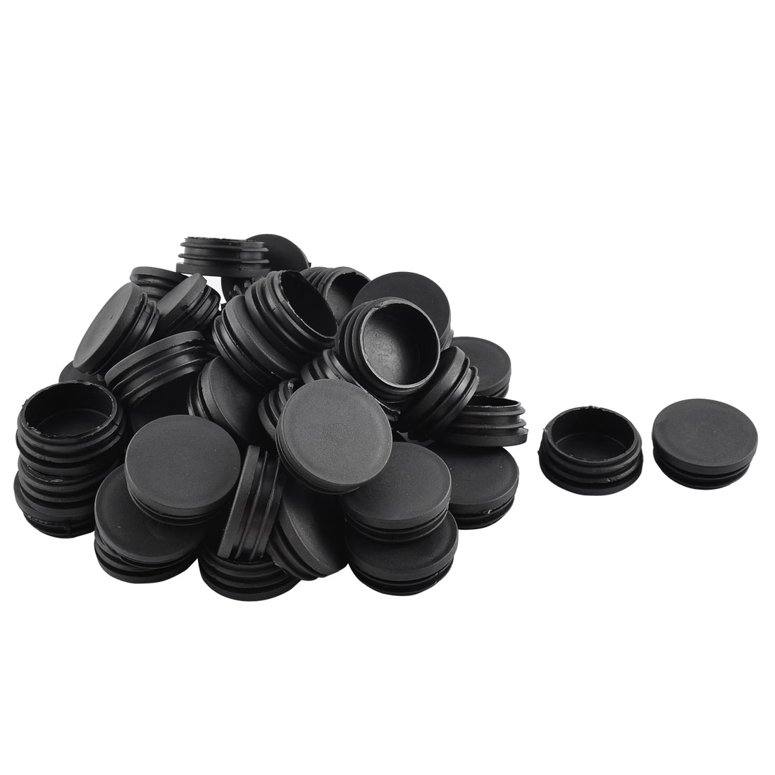 Home Plastic Round Shaped Furniture Table Chair Leg Feet Tube Insert Black 50 Pcs