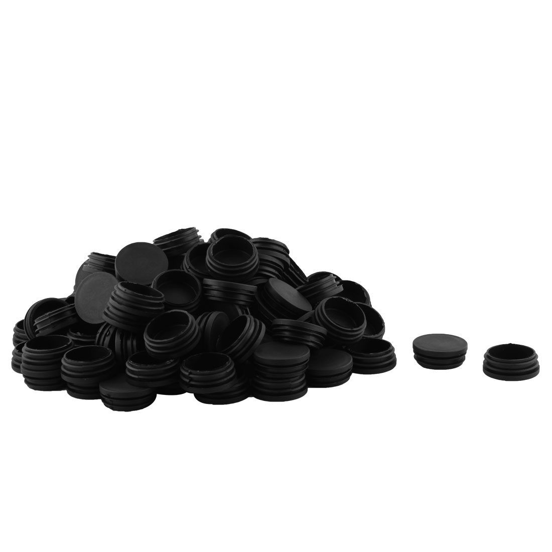 Office Plastic Round Shaped Furniture Table Chair Leg Foot Tube Insert Black 100 Pcs