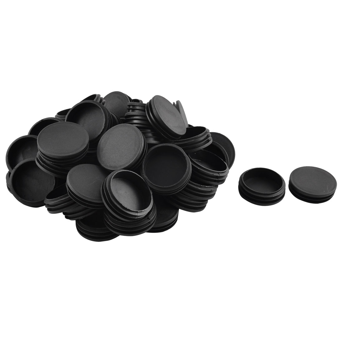 Home Plastic Round Shaped Furniture Table Chair Leg Feet Tube Insert Black 50 Pcs 6cm Diameter